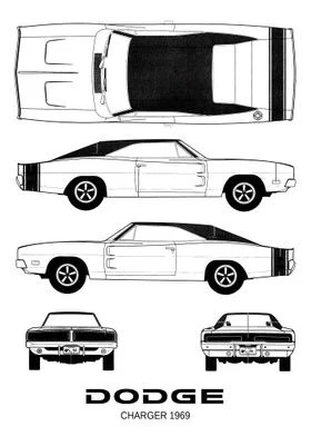 bnw dodge charger 1969