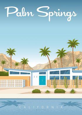 palms springs travel print
