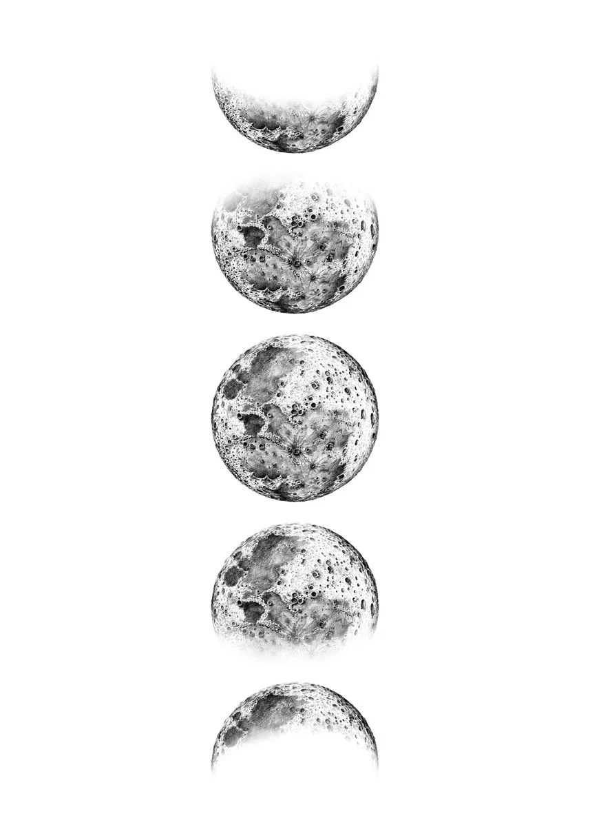 black and white moon phase