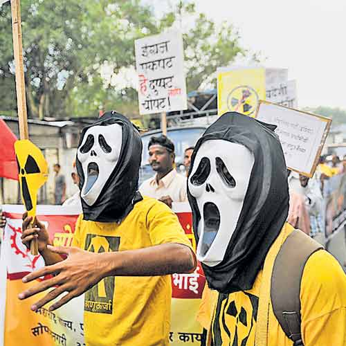 File photo of a group protesting nuclear plants in the country