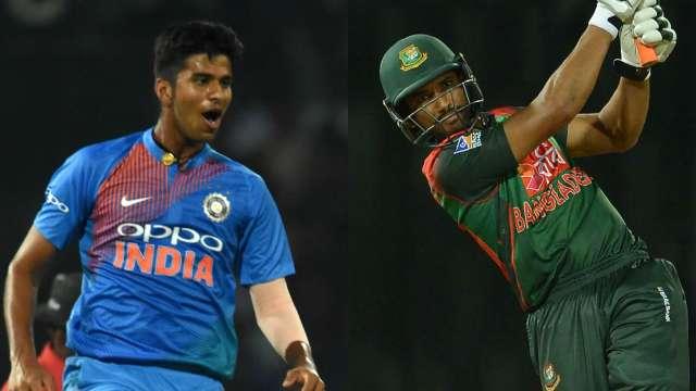 Washinton Sundar (L) and Mahmudullah in action during the Nidahas Trophy
