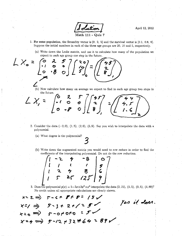 Quiz 21 with Solutions - Linear Math Modeling  MATH 21 - Docsity
