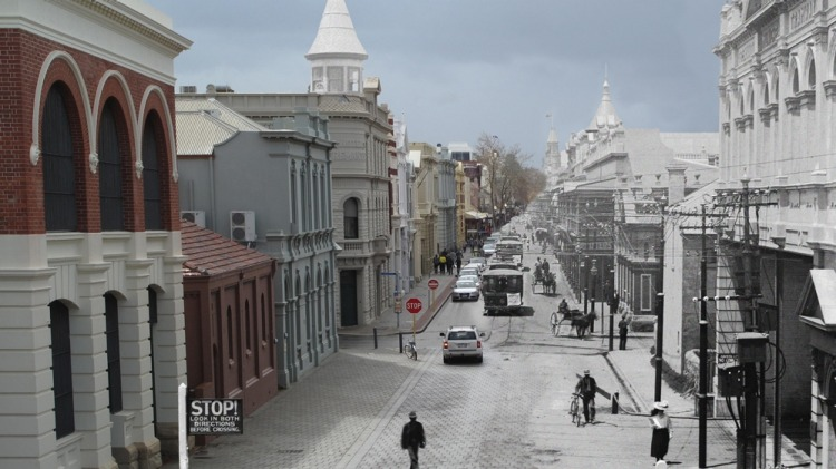 Fremantle's High Street West End in the present (left) contrasted to its appearance in the boom period (right).