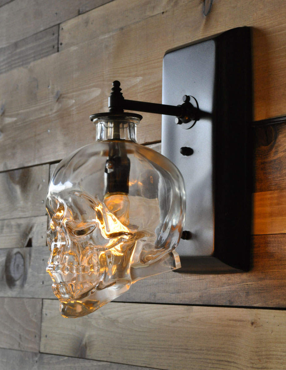 Crystal Head Vodka Skull Wall Sconce | DudeIWantThat.com on Wall Sconce Lighting Decor id=37118
