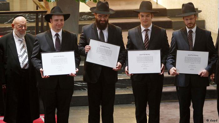 Newly ordained rabbis pose in 2012 at the first rabbinical ordination in Germany since the Holocaust