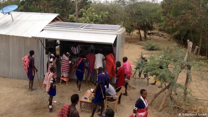 Solar kiosk in Olkiramatian, near Lake Magadi in Kenya