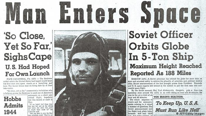 English newspaper article about Juri Gagarin from 1961 (AFP/Getty Images)