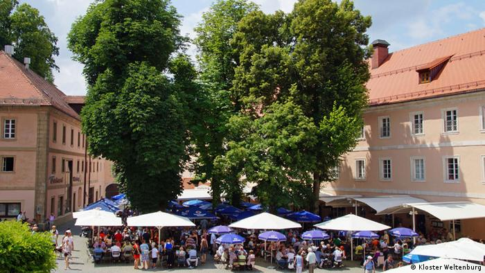 Germany, beer garden at Weltenburg Abbey