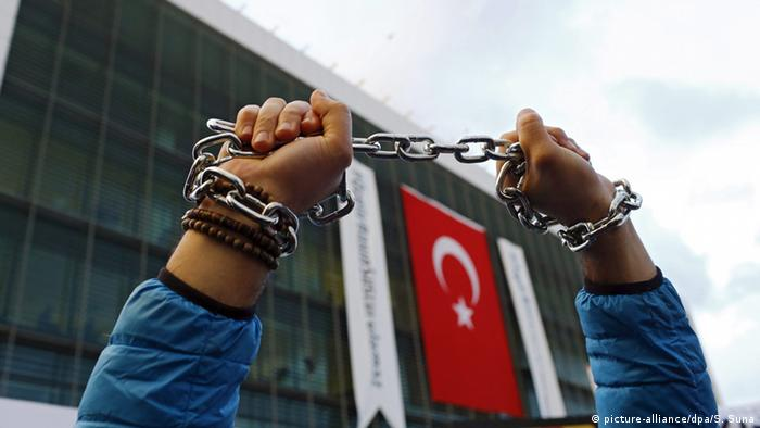 Chained hands and Turkish flag in the background.