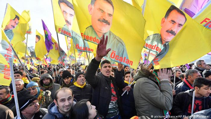 Kurds with flags of Abdullah Ocalan.