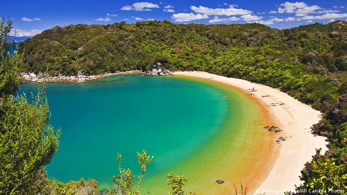 Te Pukatea Bay with white sandy beach and turquoise water in New Zealand