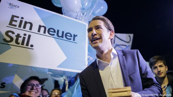 Kurz at election rally in front of balloons and banner reading: A new style