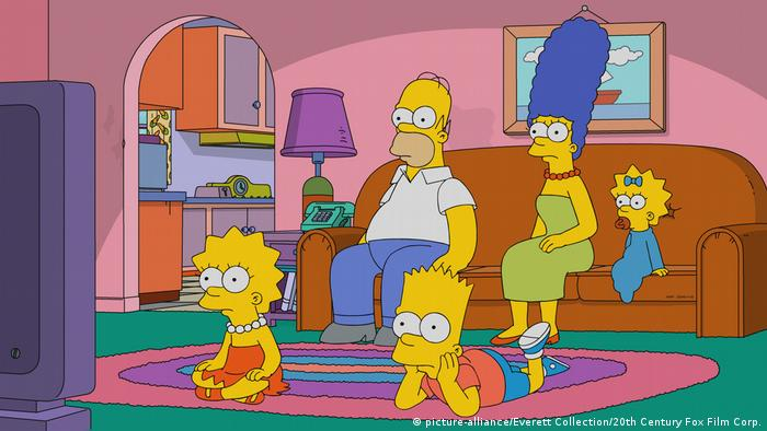 The Simpsons cartoon scene, the family sitting on the couch from the episode Frink Gets Testy (2018)