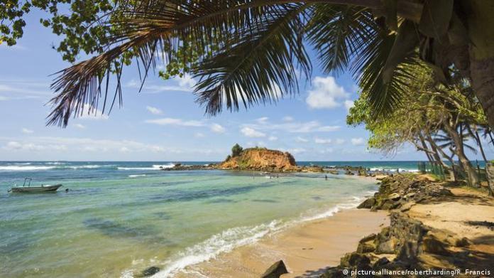 Beach scene in Mirissa, Sri Lanka, Asia