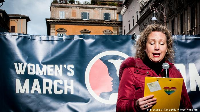 A protester speaks at the Women's March in Rome