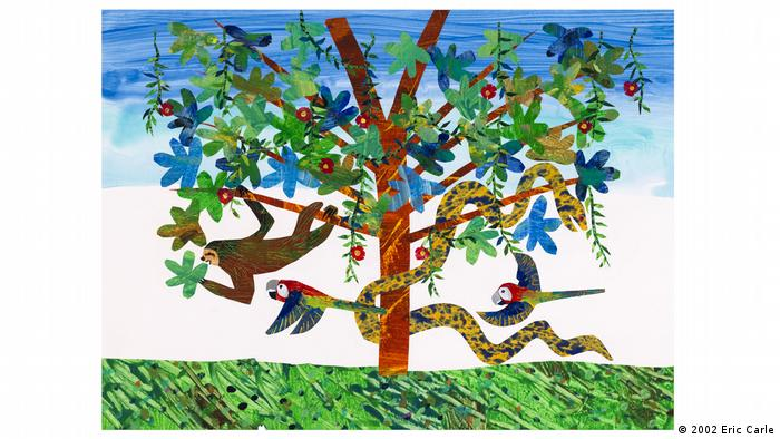 Illustration from Eric Carle's 'Slowly, Slowly, slowly,' Said the Sloth: colorful tree with a snake, two parrots and a sloth (2002 Eric Carle)