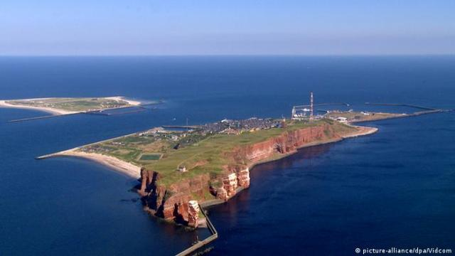 An aerial view of Helgoland, an island in the North Sea
