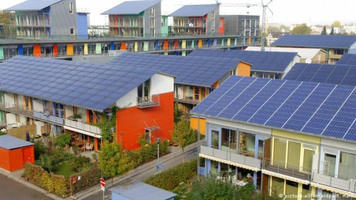 Housing development in Freiburg, Germany with low-energy consumption and photovoltaic panels