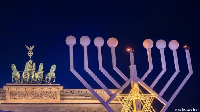 Europe's largest Hanukkah menorah is lit every year in front of Berlin's Brandenburg Gate