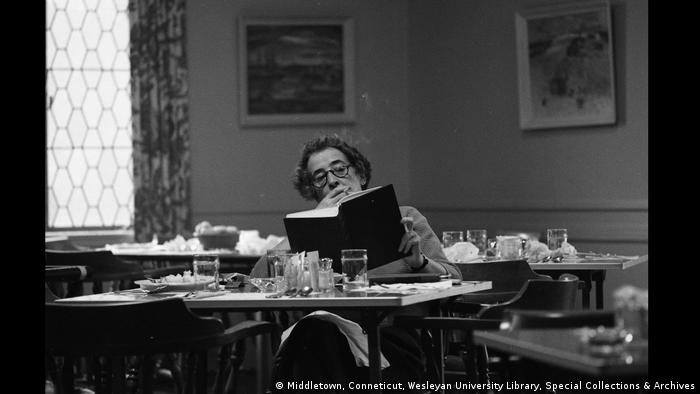 Hannah Arendt in the cafeteria at Wesleyan University (Middletown, Conneticut, Wesleyan University Library, Special Collections & Archives)