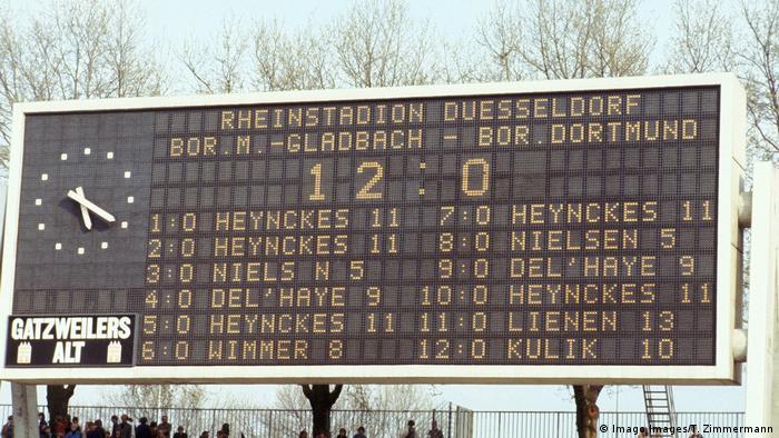 Scoreboard of Borussia Mönchengladbach's 12-0 win over Borussia Dortmund (Imago Images/T. Zimmermann)