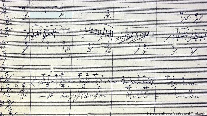 Notation of the 9th symphony, written by Beethoven.