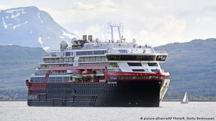 The new hybrid-powered expedition ship MS Roald Amundsen cruise ship arrives in Tromsoe, northern Norway