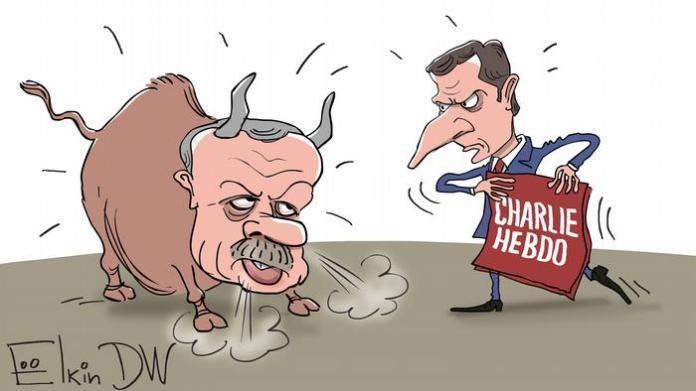 Karikatur von Sergey Elkin zu Erdogan gegen Macron