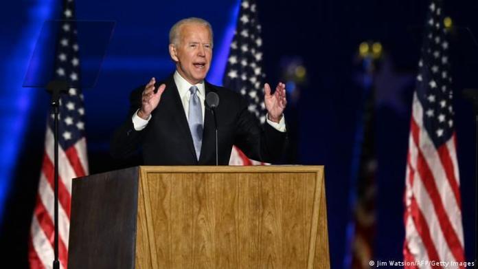 Joe Biden speaks in Wilmington, Delaware. (Jim Watsion/AFP/Getty Images)