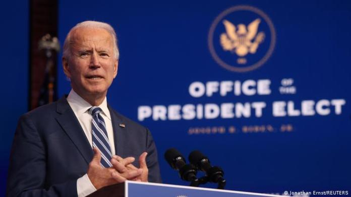 President-elect Joe Biden addresses the media at his transition headquarters in Delaware.