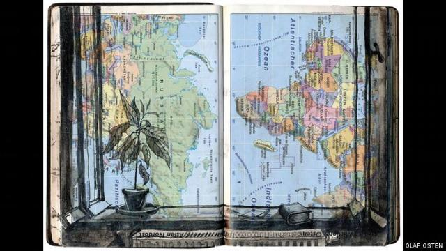 Picture of a map that looks like both a book and window, with plant to the side on a windowsill