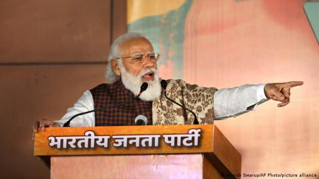 A picture of Indian PM Narendra Modi speaking at a function of his Bharatiya Janata Party headquarters