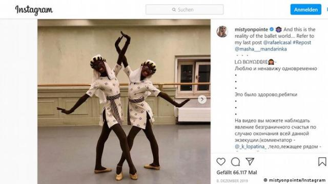 Post by Misty Copeland showing two dancers in blackface and bodies