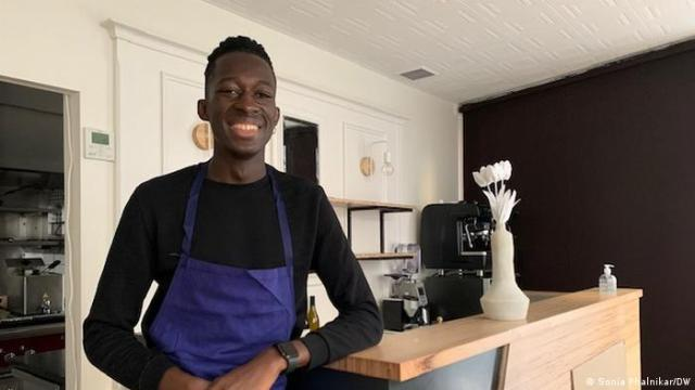 Chef Mory Sacko photographed at this restaurant in France.