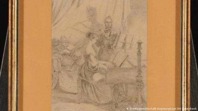 Drawing by Carl Spitzweg, Playing the Piano, ca. 1840