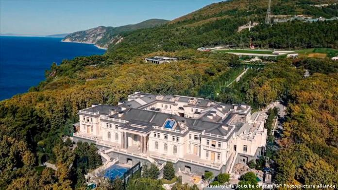 This image taken from video released by Navalny Life youtube channel on Tuesday, Jan. 19, 2021, shows a drone view of an estate on Russia's Black Sea, Russia