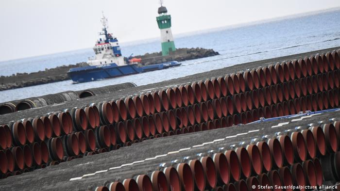 Pieces of the future Nord Stream 2 pipeline sit at the port of Rugen