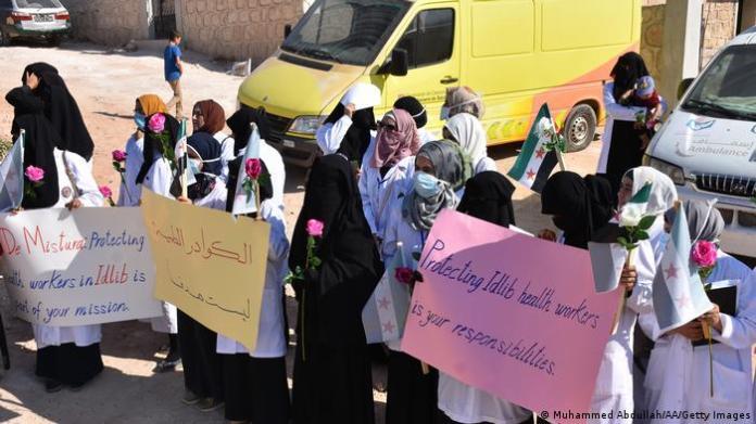 Syria Idlib protest against Assad regime