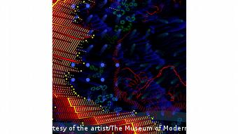 Reconstructions: Architecture and Blackness in America | Emanuel Admassu artwork of digital image of blue dots and red skyscrapers.