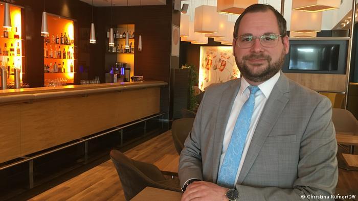 Novotel in Berlin Tiergarten assistant manager Sebastian Loelf standing in the hotel bar area