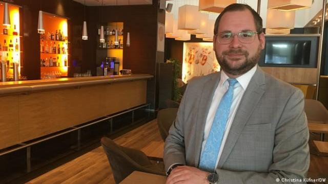 Novotel in Berlin Tiergarten assistant manager Sebastian Loelf standing in the hotel bar area