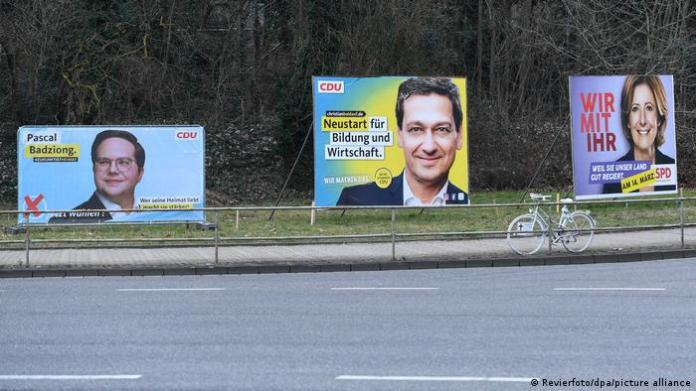 Election posters in Rhineland-Palatinate, with Malu Dreyer's on the far right