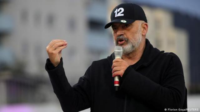 Leader of the Socialist Party Edi Rama delivers his speech during an election rally.
