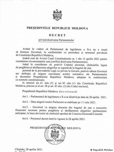 Dekret zur Auflösung des moldauischen Parlaments