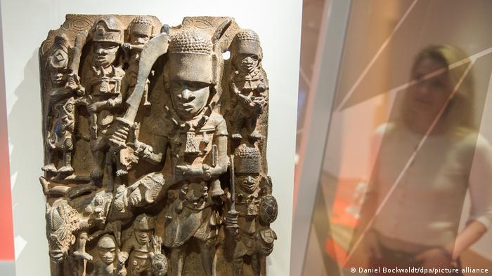 A Benin Bronze artefact on display at a museum