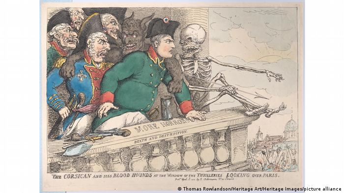Cartoon titled The Corsican and his bloodhounds showing Napoleon on a balcony, next to him are generals, a skeleton and the devil.