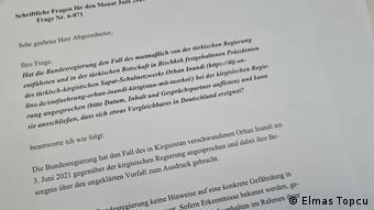 Orhan İnandı ile ilgili Almanya'da federal hükümete yöneltilen soru önergesi