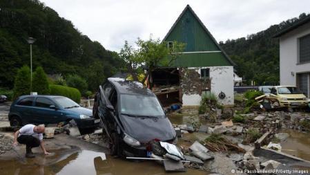 Cena de destruição em Hagen, na Renânia do Norte-Vestfália