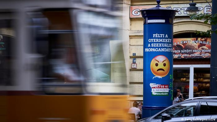 Do you fear for your child because of homosexual propaganda? the poster reads, blue with a frowning smiley