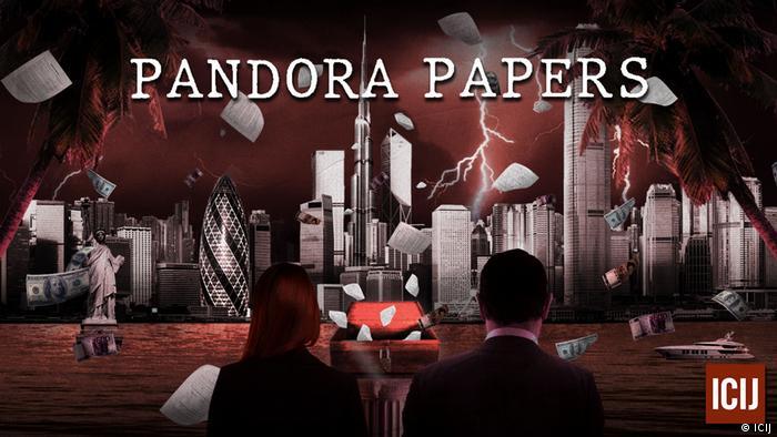 Symbolic Pandora Papers image showing lightening bringing down buildings